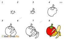 How To Draw Vegetables And Fruits Step By Step