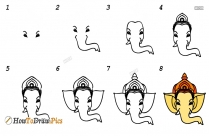 How To Draw Ganesha Face Easily