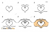 How To Draw Heart Hands In Easy