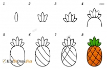 How To Draw Pineapple Fruits