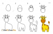 how to draw a giraffe easy steps