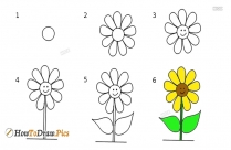 How To Draw Sunflower Easily