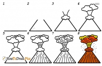 How To Draw Volcano